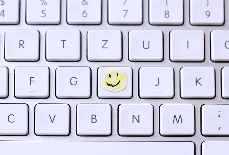 smile Attitude Close-up Computer Computer Key Computer Keyboard Friendly Gift Grey Little Nice No People Office Smile Smiley Sticker Technology Yellow
