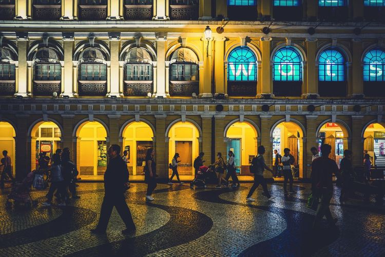 Streetphotography Nightphotography Macau Architecture Building Exterior Built Structure Arch City Window Group Of People Building Illuminated Night Outdoors Street Real People Lifestyles Women Men Crowd Travel Travel Destinations