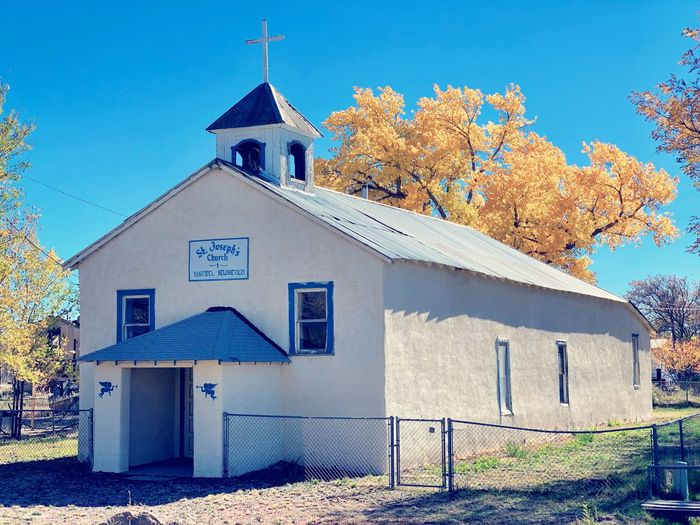 """""""St. Joseph's"""" Old St. Joseph's Catholic Church in the tiny village of San Fidel, New Mexico on Old Route 66. New Mexico Skies New Mexico Photography New Mexico History New Mexico Autumn colors Autumn Autumn Collection Fall Fall Beauty Fall Colors Route 66 Historic Church Old Church Church Building Exterior Architecture Built Structure Building Religion Nature Place Of Worship"""