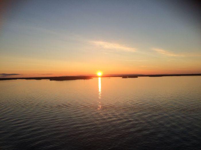 Sunshine Sunset on Swedish Island Baltic Sea Traveling on the Ship to Finland Helsinki Stockholm