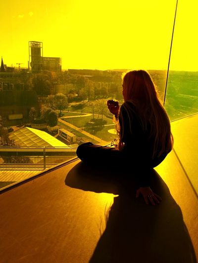 Your rainbow panorama One Person One Woman Only Women Shadow One Young Woman Only Huawei P9. Mobile Photography Smartphonegraphy Mobilephotography Smartphone Photographer Yellow Daydreamin ARoS Aarhus Kunstmuseum