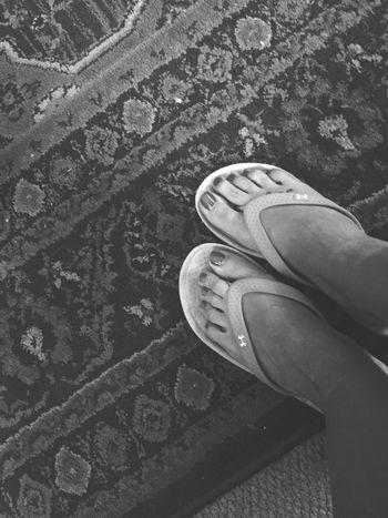 Flip flops days Under Armour Feet Red Toenails Flip Flops Shoe Fetish