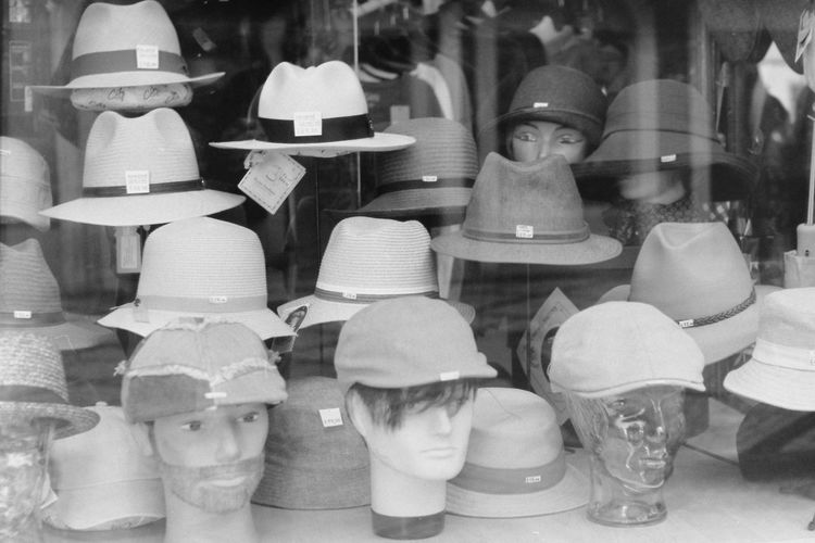 Taken with EXA 1c + Pentacon 50mm f/1.8 + Kodak Tri-X 100 film Hat Kodak Shopping Shops Blackandwhite Close-up Display Window Fashion Film Photography For Sale Hats Heads Large Group Of Objects Mannequin Mannequin Head Monochrome No People No People, Retail  Retail Display Shop Shop Window Store Vintage Vintage Shop