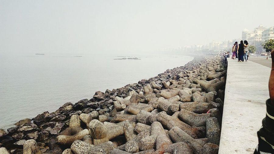 India_clicks EyeEm Best Shots - Nature Sea And Sky Foggy Morning Queens Necklace Marine Drive Groyne Shapes Seascape Seaside Sea Arabian Sea : Ocean❤ Cool_capture_