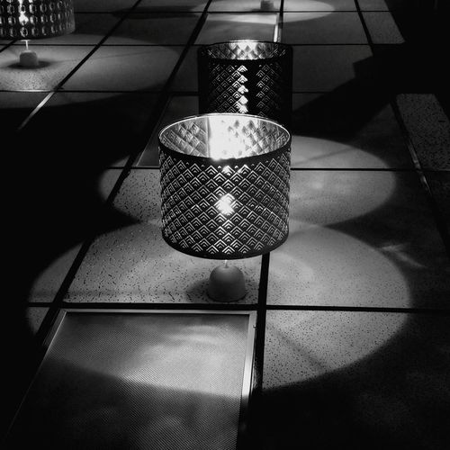 High angle view of illuminated lamp on floor at home