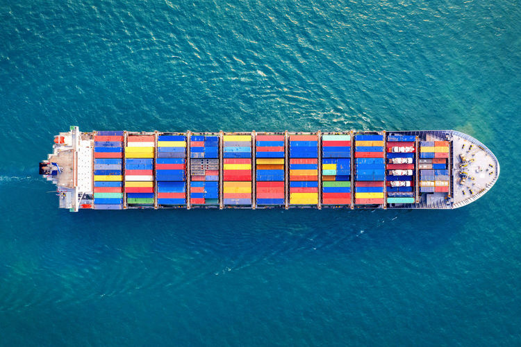 High angle view of cargo container in sea