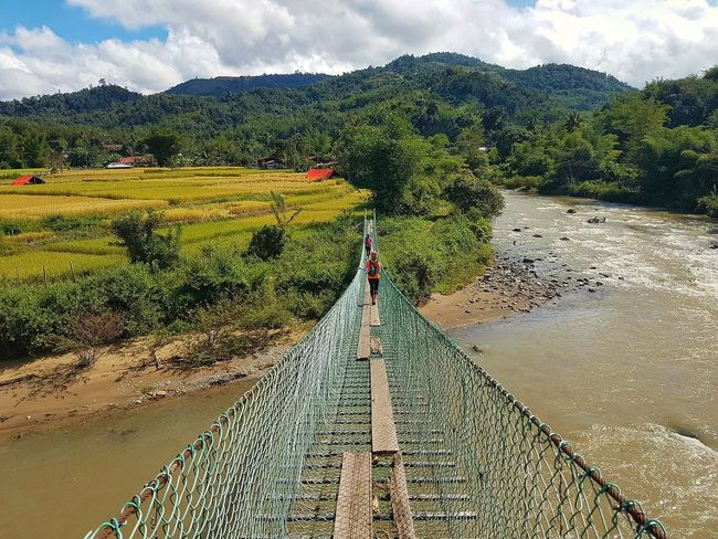 Beautiful Tambunan viewed from a hanging bridge. Day Cloud - Sky Nature Outdoors Sky Growth Agriculture Field Landscape Beauty In Nature Scenics Borneo Travel Destination Tropics Sabahmalaysia Landscapes