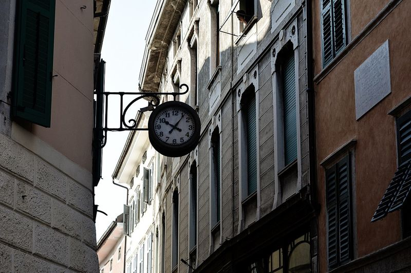 Travel Traveling City Trento, Italy Trento Clock City Window Sky Architecture Building Exterior Built Structure Road Sign Road Signal Street Light