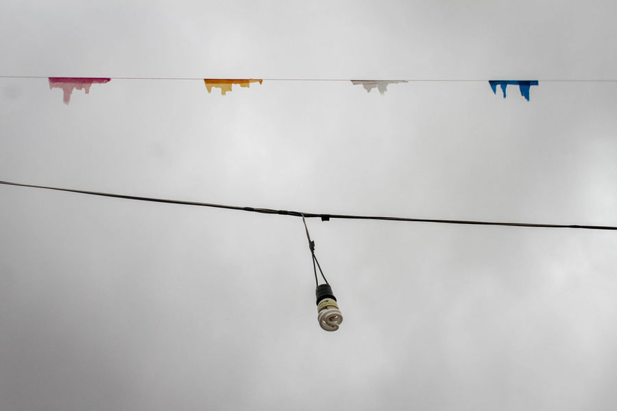 Light Cable Day Electricity  Hanging Low Angle View Nature No People Outdoors Overcast Sky