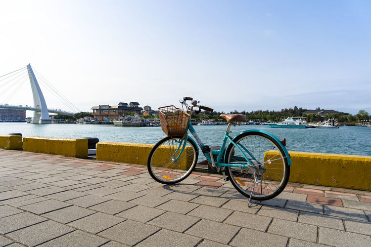 one fine day on Tamsui fisherman's wharf by bicycle renting Travel Therapy Travel Insurance Taiwan Beautiful Scenery Tamsui River Tamsui Fisherman's Wharf Tamsui Taiwan Bicycle Trip Empty One Fine Evening