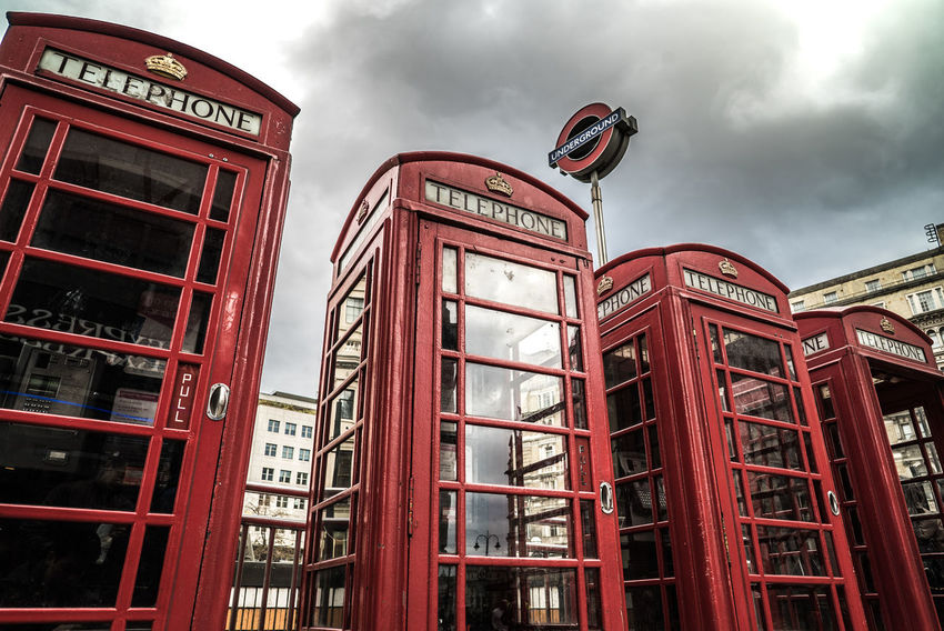 Icons of London. Connection Cultures London Nostalgia Pay Phone Red Telephone Telephone Booth Tube