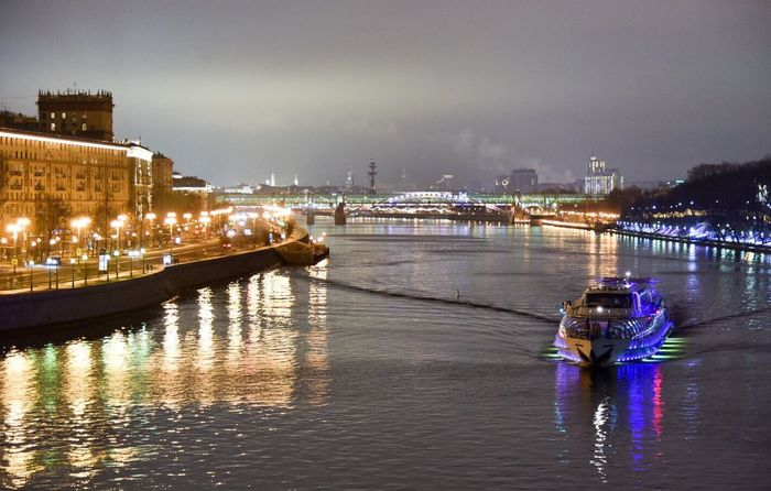 Moscow, Москва Moscow River Boat Night River Night Lights Night City