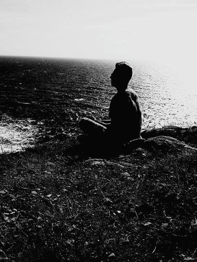 One Person Rear View Only Men One Man Only Sea Outdoors Nature Day Black&white Sitting Beauty In Nature Thinking Thinking Man Beginnings Young Adult Lithuanianboy My Year My View