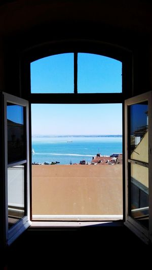 Lisbon Tagus river Window Blue Sky No People Water Day Space