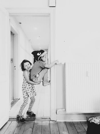 Kids! Full Length Childhood Child Standing Girls Looking At Camera Two People Real People House Vertical Day Indoors  Portrait Home Interior Happiness Togetherness Person People Play Playtime Playful Shark