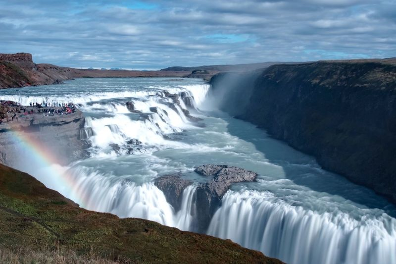 Gullfoss Iceland September 2016 Waterfall Water Scenics Tourism Motion Beauty In Nature Flowing Water Travel Destinations Cloud - Sky Long Exposure Tranquil Scene Travel Nature Flowing Rock - Object Sky Non-urban Scene Idyllic Cloud Power In Nature Olympus OM-D E-M5 Landscape