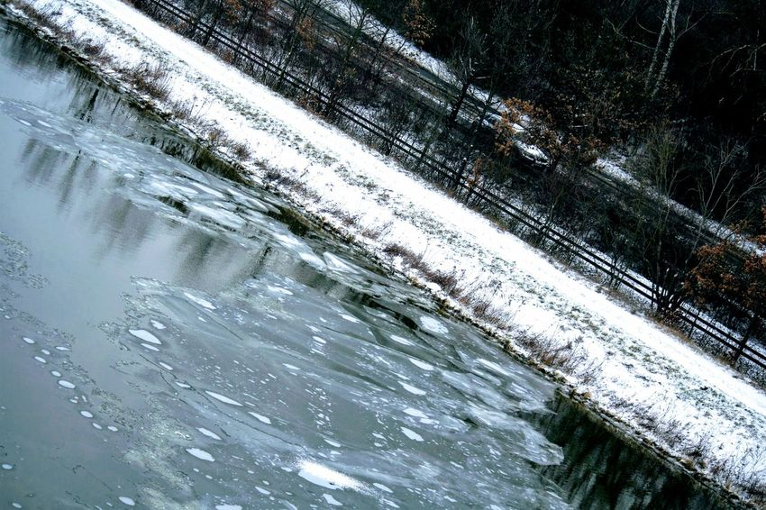 Water Nature Reflection Cold Temperature Winter Snow Outdoors Close-up No People Backgrounds Full Frame Day Beauty In Nature Main Donau Kanal Landscape
