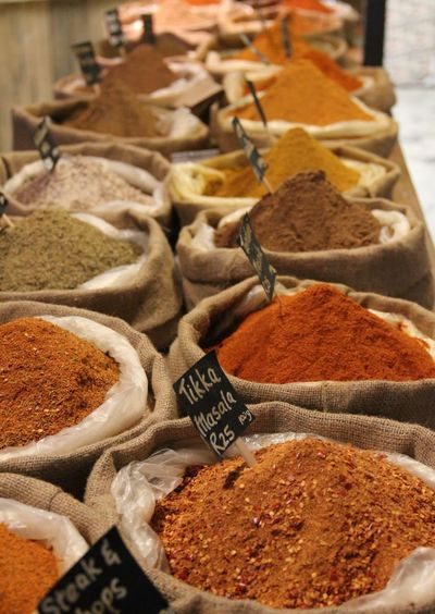 High Angle View Of Various Spices For Sale At Market