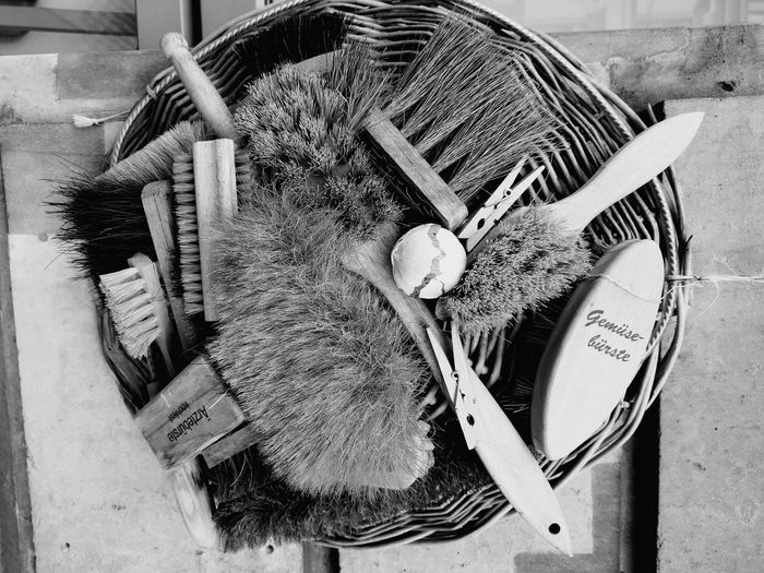 Brushes, Bürsten Brush Cleaning Equipment Cleaning Tools No People Bw Black And White Wooden EyeEm Selects High Angle View Table Close-up For Sale Shop Market Stall Various