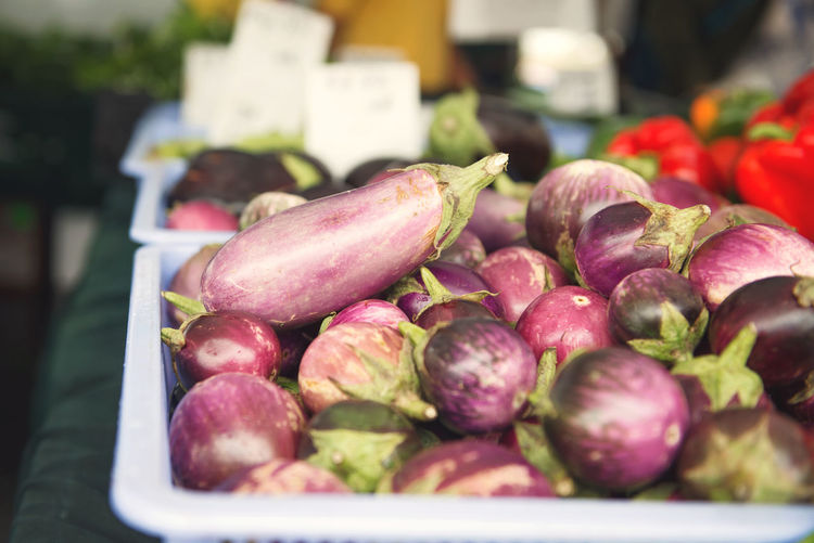 Egg Plants at the Market Close-up Day Egg Plant Focus On Foreground Food Food And Drink For Sale Freshness Fruit Healthy Eating Market Market Stall No People Outdoors