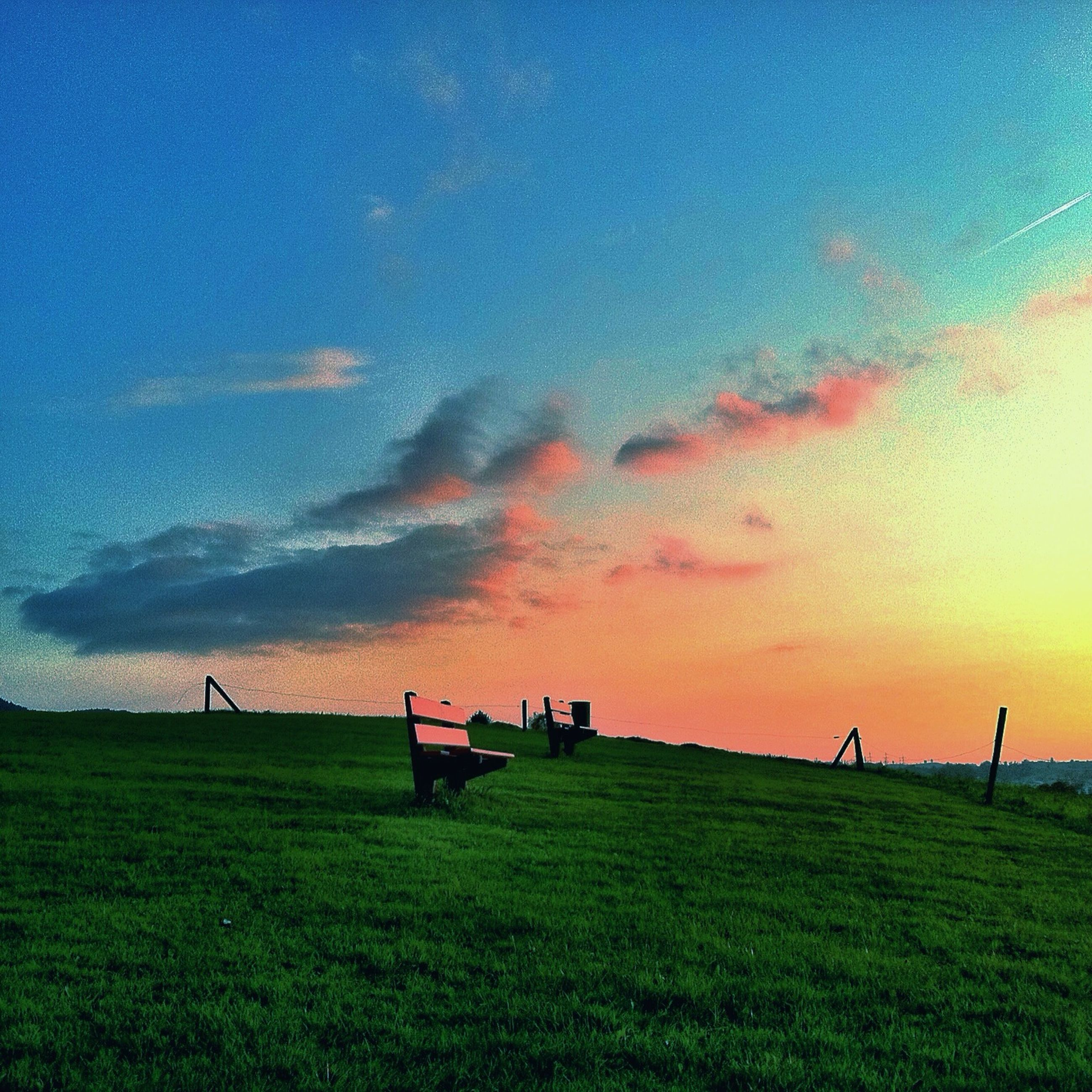 grass, sky, field, sunset, landscape, tranquility, tranquil scene, scenics, beauty in nature, nature, grassy, cloud - sky, green color, orange color, idyllic, outdoors, non-urban scene, cloud, tree, no people