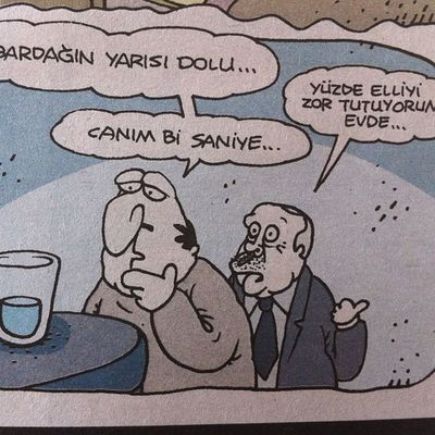 Herkes bardagi gorur ama ah o evdeki Yuzdeelli Akp RTE Tayyip karikatur mizah komik komedi eglence girgir uykusuz penguen girgir istanbul turkiye