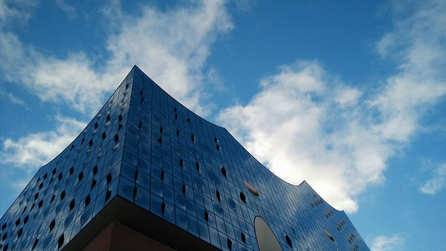 Elbphilharmonie I. · Hamburg Germany 040 Hh Hamburgmeineperle Hamburger Hafen Elphi Opéra Operahouse Music Culture Entertainment Landmark Architecture Building Exterior Modern Low Angle View Clouds And Sky Blue Sky Beautiful Day