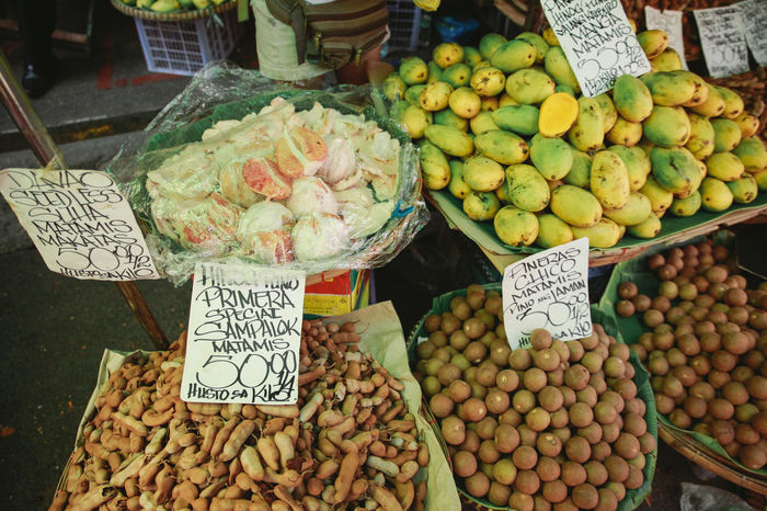 Abundance Arrangement Choice Display Downtown Food Food And Drink For Sale Freshness Healthy Eating High Angle View Large Group Of Objects Manila Market Market Market Stall Price Tag Retail  Sale Small Business Still Life Text Variation
