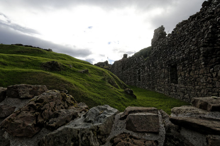 Cloud Rock Scotland Ancient Ancient Civilization Architecture Built Structure Burnt Whit Cloud - Sky Grass History Rock Rock - Object Scotland Green Scotland History Sky Solid Stone Wall The Past Wall EyeEmNewHere A New Perspective On Life