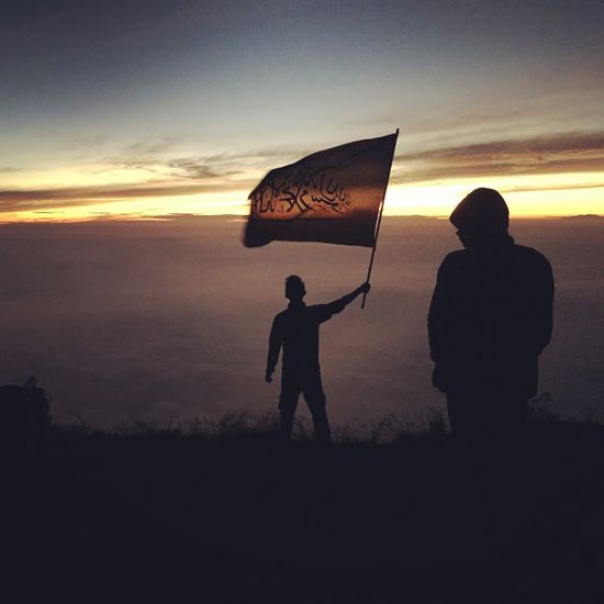 People And Places Sunrise Flag Mountain Volcano INDONESIA Travel