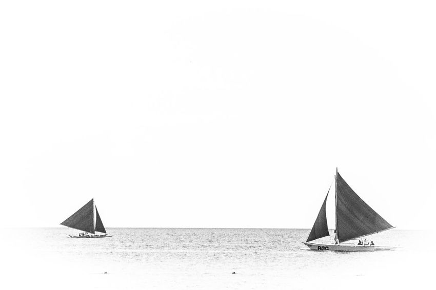 Boracay, Philippines Beach Black & White Black And White Blackandwhite Boats Clear Sky EyeEm Gallery Philippines Sailboat Sailing Sea Water