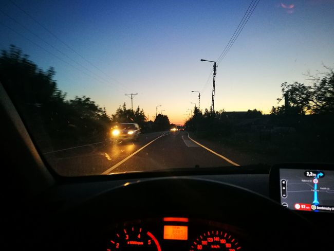 Car Car Interior Windshield Transportation Vehicle Interior Dashboard Mode Of Transport Land Vehicle Travel No People Sunset Car Point Of View Journey Speedometer Tree Sky Day Close-up Outdoors