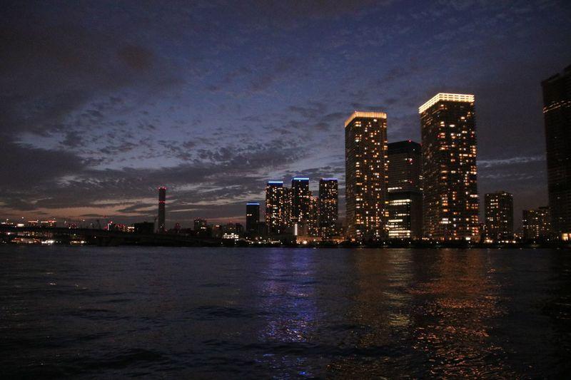 夜景 豊洲ぐるり公園 レインボーブリッジ Sea Park Building Exterior Architecture Built Structure City Illuminated Water Night Cloud - Sky Cityscape Building