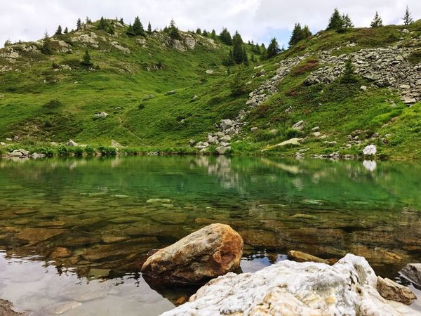 Alps Water Reflections Reflection Pond Water Rock - Object Nature Tranquility Tranquil Scene Beauty In Nature Lake Green Color Outdoors Day No People Scenics Mountain Landscape
