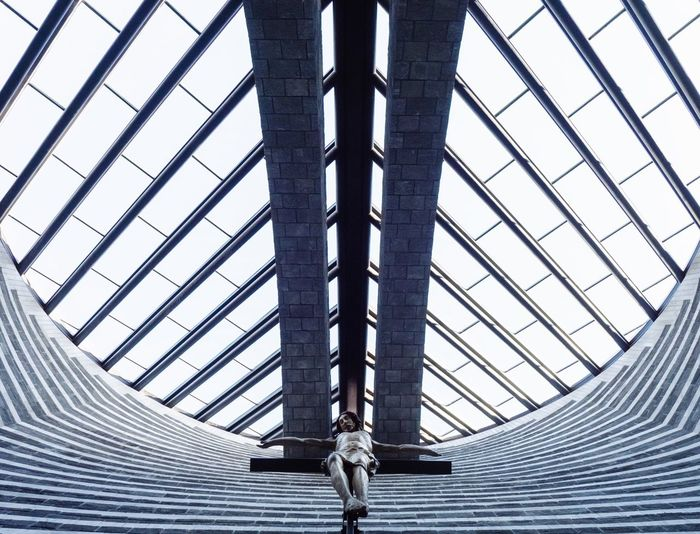 Arts Culture And Entertainment Religion Church Church Architecture Christianity Jesus Modern Architecture Symmetry Geometric Shape Architectural Detail Mario Botta Architecture And Art Built Structure Architecture Low Angle View Pattern Day No People Directly Below