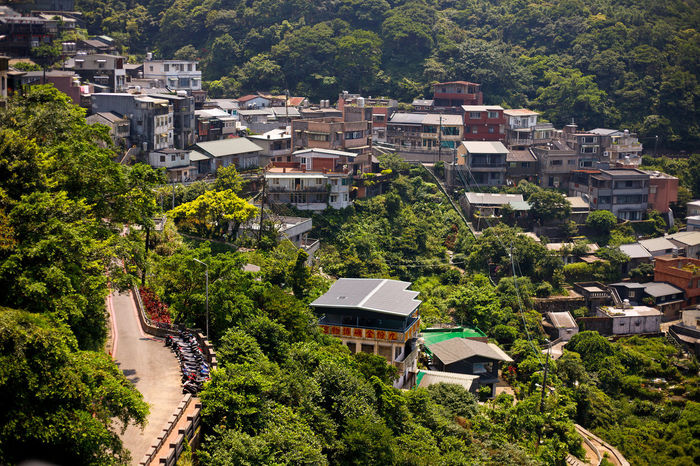 New Taipei Jiufen village and mountain landscape view Taipei,Taiwan Architecture Building Building Exterior Built Structure City Day Green Color High Angle View House Jiu Fen Landscape Moutain Nature No People Outdoors Plant Residential District Roof Town TOWNSCAPE Travel Destinations Tree Treetop Village