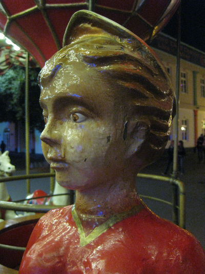 Funfair Carousel Close-up Day Focus On Foreground Headshot One Person Sculpture Statue Young Adult