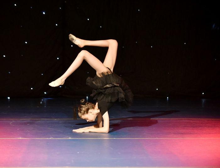 Full length of ballet dancer on stage