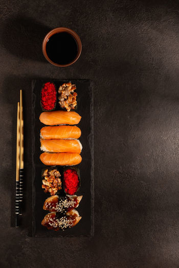 Directly above shot of sushi served on table