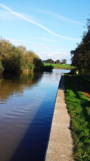 Canal Towpath Canal Towpath Canals And Waterways Tree Water Reflection Sunlight Lake Sky Tranquil Scene Idyllic Countryside Remote