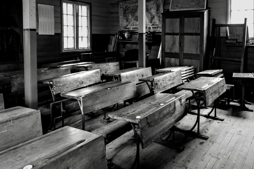 Abandoned School. Abandoned Places Derelict Abandoned Absence Architecture Bench Building Built Structure Chair Day Empty Furniture History Indoors  No People Old School Seat Table The Past Window Wood Wood - Material