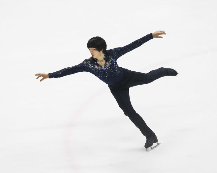 Cha Junhwan, A Korean Male Figure Skating Star Asian  Athlete Cha Junhw Figure Skating Ice Arena Ice Rink Ice-skating Korean Winter Sport Awesome Figure Skater Free Skating Full Length Full Length Portrait Good Looking Handsome Ice Skate Indoors  Little Prince One Person Portrait Prince  Real People Skillful White Background