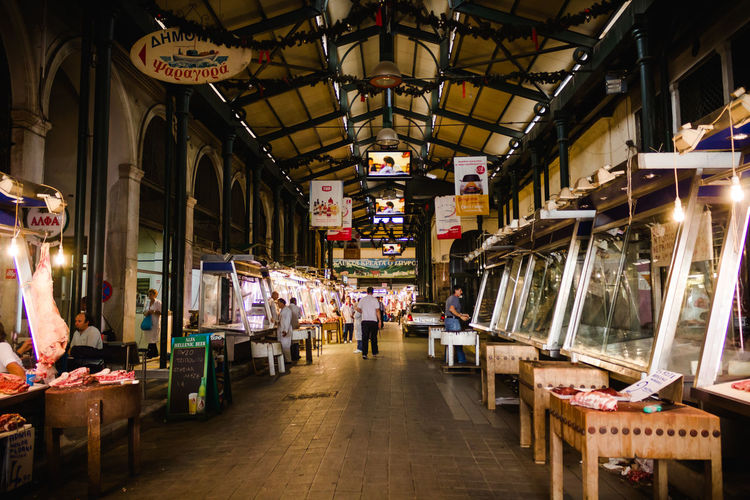 Athens Capital Cities  Central Market Diminishing Perspective Food Fresh Meat Illuminated Market Market Stall Meat Retail  Shop Store