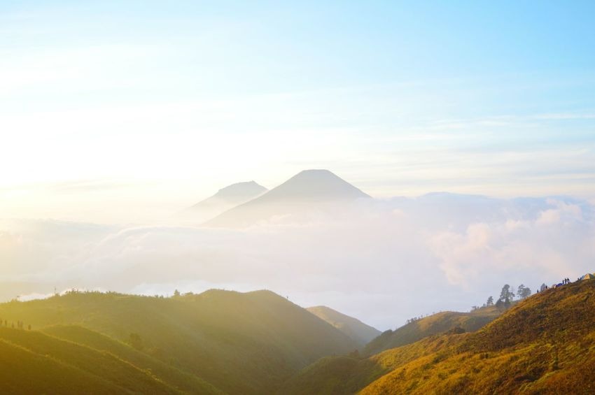 sunlight inthe morning Sunlight Sunrise Enjoying Life Hiking Hike Trip Explore Volcano Likeforlike Followme Sell Crater Mountain Fog Triangle Shape Forest Scenics Cloud - Sky Outdoors No People Nature Travel Destinations Landscape Beauty In Nature Mountain Range Sky Day Multi Colored Tree