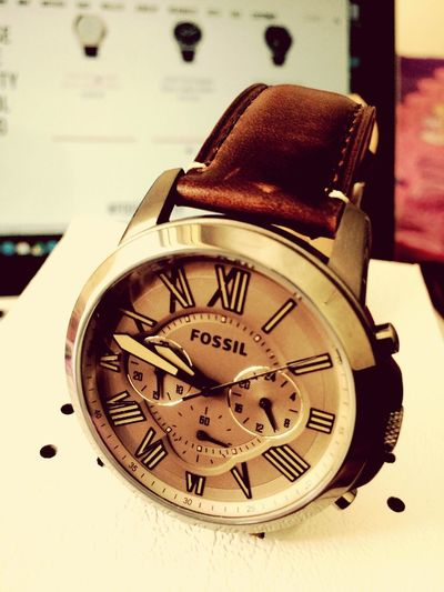 Watc Watches Time Timekeeper Fossil Leather Dial