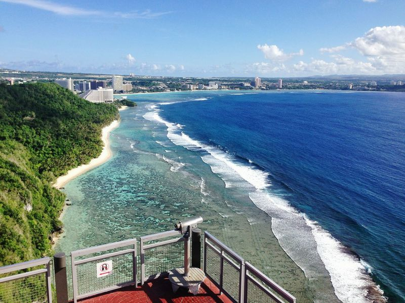 Two Lovers Point Guam Beach Island Shore Sea City View From Above Love Story Blue Sky