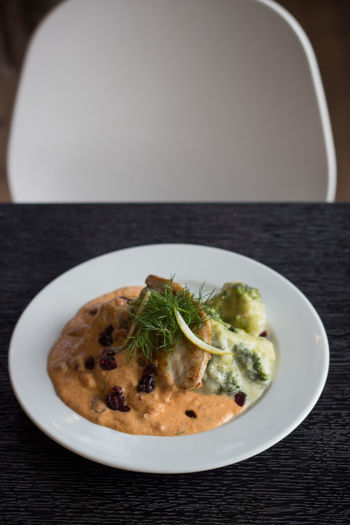 Close-up of meal served on table