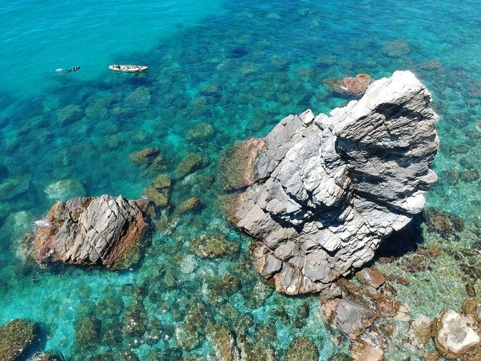 The rock Drone  Dji Dronephotography Droneshot Dronestagram UnderSea Sea Water Beach Aerial View High Angle View Sand Rock - Object Close-up