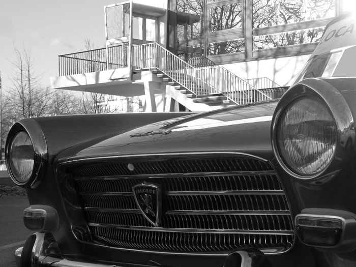 Old front of Peugeot car in the city - one of my shoot of 2019 in Brittany France Peugeot 404 404 Model Triangle Peugeot Vehicle Exterior Front Part Old Peugeot Old Headlights Bnw Angle View Chrome Old Peugeot Front Land Vehicle Car Old-fashioned Headlight Retro Styled Vintage Car Collector's Car