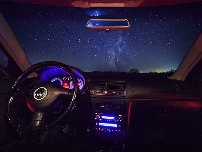 Illuminated lighting equipment in car at night